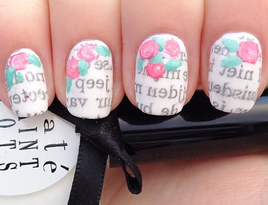 Floral Newspaper Nail Art Once Upon A Blog